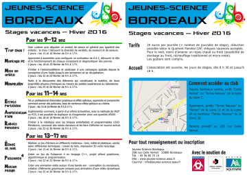Programme des stages d'Hiver 2016