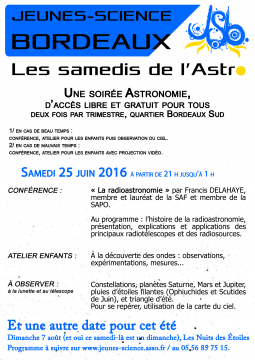 Affiche des samedis de l'Astro de l'été 2016