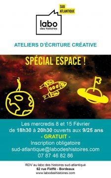 Labo des histoires Sud-Atlantique Ateliers d'écriture créative Spécial espace