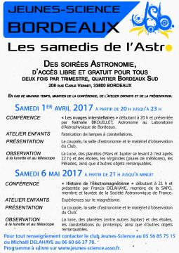 Affiche des Samedis de l'Astro de printemps 2017