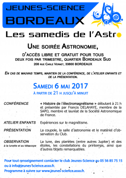 Affiche du samedi de l'Astro de mai 2017