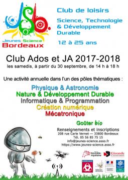 Affiche Club Ados et Jeunes Adultes 2017–2018