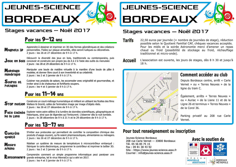 Stages de Noël 2017