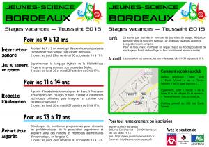 Programme des stages de Toussaint 2015